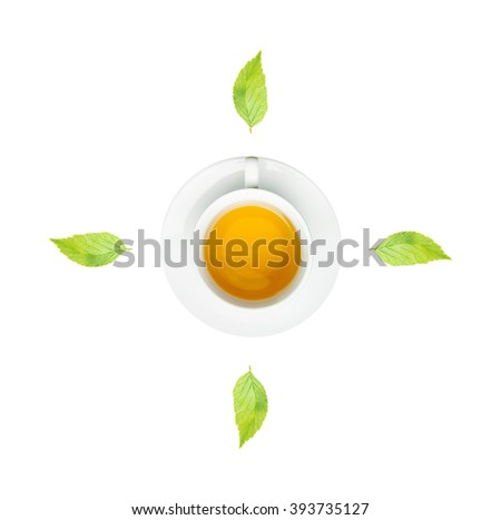 clock. cup of fresh tea and clock sign with white background. - stock photo