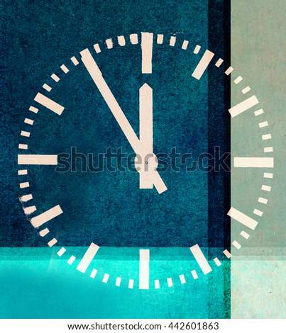 clock design on blue background - stock photo