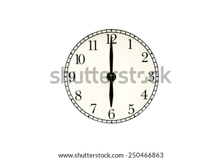 clock dial isolated on white background. - stock photo