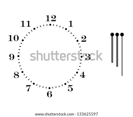 Clock dial with arrows on white background - stock photo