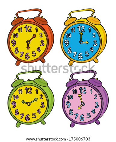 clock doodle in various color - stock photo