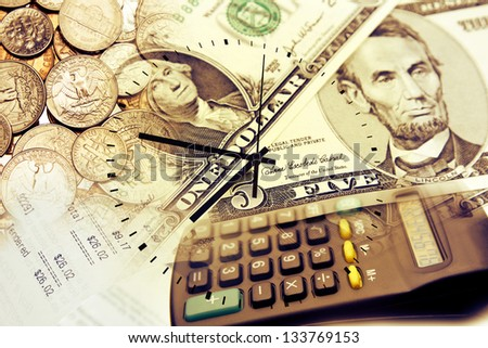 Clock face, calculator and currency. Time is money concept - stock photo