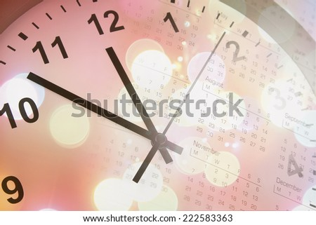 Clock face, calendar and abstract background - stock photo
