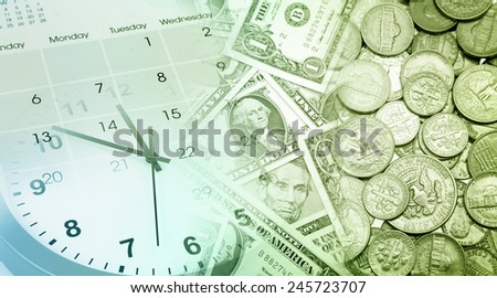 Clock face, calendar and American currency - stock photo
