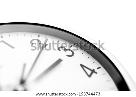 Clock face closeup over white background. - stock photo