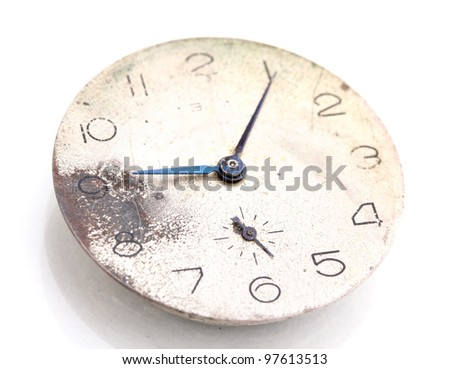 Clock face isolated on white - stock photo