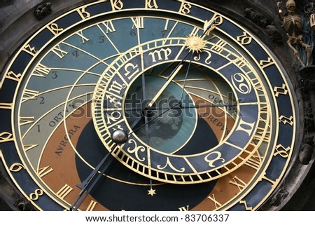 Clock face of the astronomical clock in Prague.  Skeleton could be seen as showing time as limited - stock photo