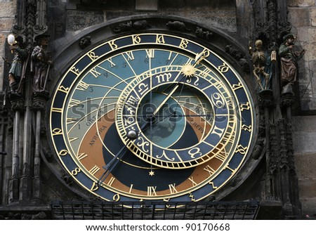 Clock face of the astronomical clock in Prague.  This is a must see sight in Prague, Czech Republic. - stock photo