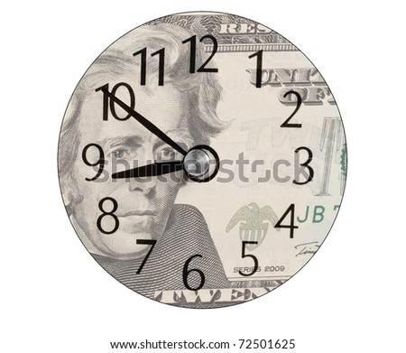 clock face on a US twenty dollar bill - stock photo