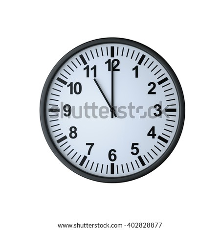 Clock face showing eleven o'clock , isolated on white , 3d rendering - stock photo