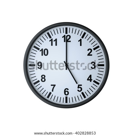 Clock face showing five o'clock , isolated on white , 3d rendering - stock photo