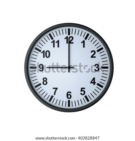 Clock face showing nine o'clock , isolated on white , 3d rendering - stock photo