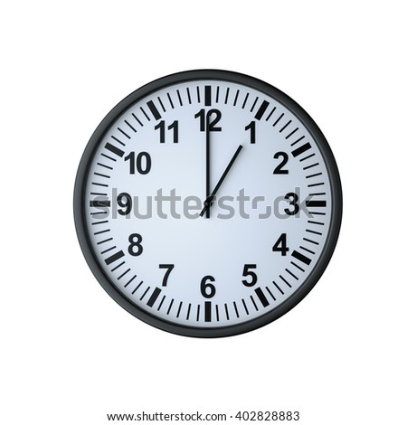Clock face showing one o'clock , isolated on white , 3d rendering - stock photo