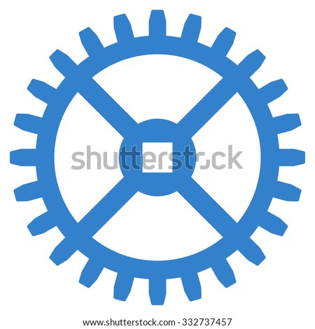 Clock Gear glyph icon. Style is flat symbol, cobalt color, rounded angles, white background. - stock photo