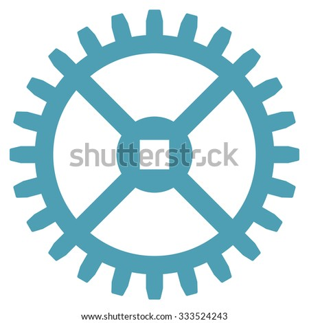Clock Gear glyph icon. Style is flat symbol, cyan color, rounded angles, white background. - stock photo