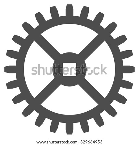 Clock Gear glyph icon. Style is flat symbol, gray color, rounded angles, white background. - stock photo
