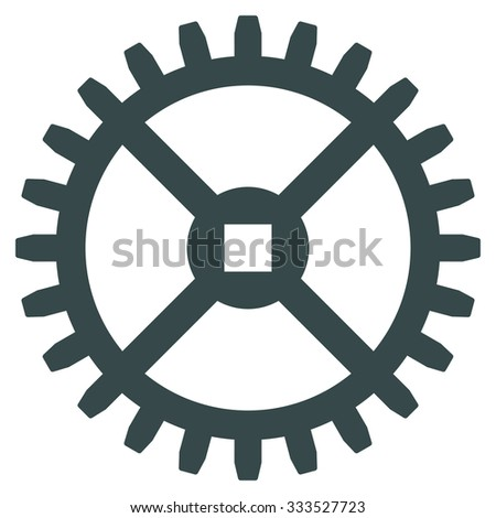 Clock Gear glyph icon. Style is flat symbol, soft blue color, rounded angles, white background. - stock photo