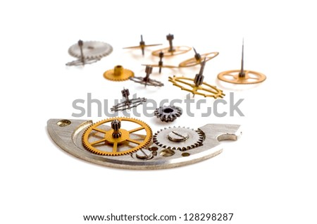 Clock gears mechanism isolated on white background - stock photo