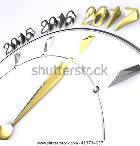 Clock Hand Reaches New Year 2017 in Gold - 3D Rendering - stock photo