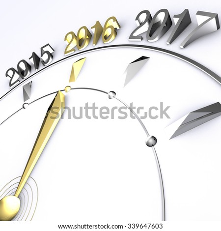 Clock Hand Reaches Year 2016 in Gold - stock photo