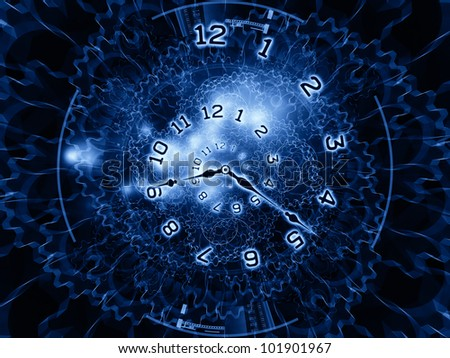 clock hands, gears, lights and numbers arrangement suitable as backdrop in projects on time sensitive issues, deadlines, scheduling, temporal processes, digital technologies, past, present and future - stock photo