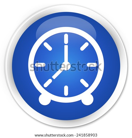Clock icon blue glossy round button - stock photo