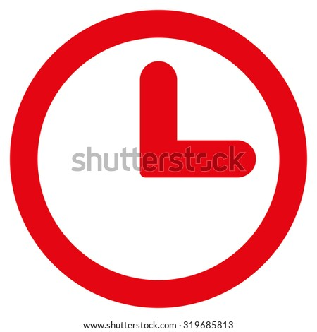 Clock icon from Primitive Set. This isolated flat symbol is drawn with red color on a white background, angles are rounded. - stock photo