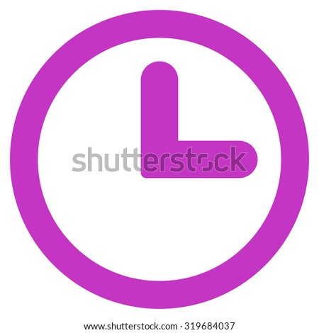 Clock icon from Primitive Set. This isolated flat symbol is drawn with violet color on a white background, angles are rounded. - stock photo