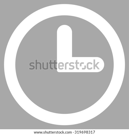 Clock icon from Primitive Set. This isolated flat symbol is drawn with white color on a silver background, angles are rounded. - stock photo