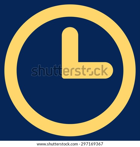 Clock icon from Primitive Set. This isolated flat symbol is drawn with yellow color on a blue background, angles are rounded. - stock photo