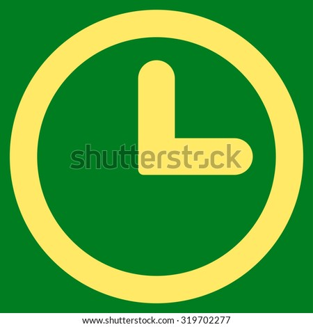 Clock icon from Primitive Set. This isolated flat symbol is drawn with yellow color on a green background, angles are rounded. - stock photo
