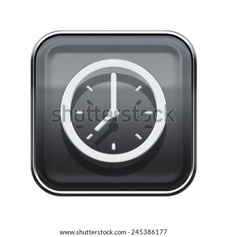 Clock icon glossy grey, isolated on white background - stock photo
