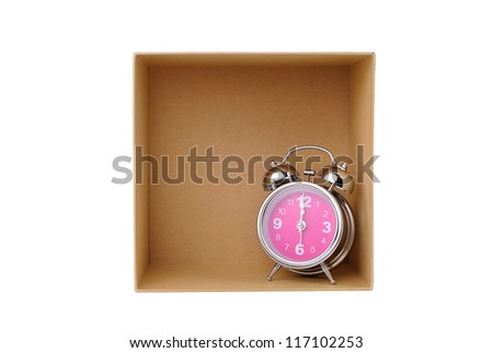 Clock in box, time in success - stock photo