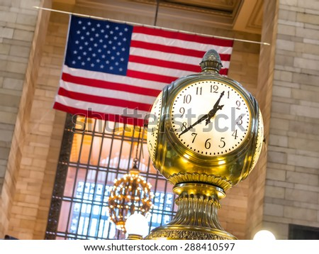 clock in grand central station of new york - stock photo