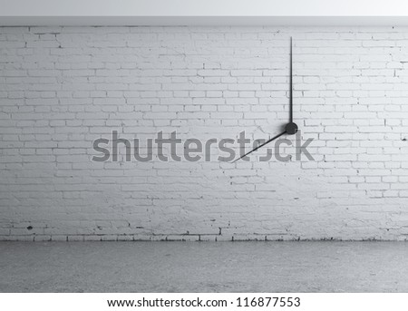 clock in white brick wall - stock photo