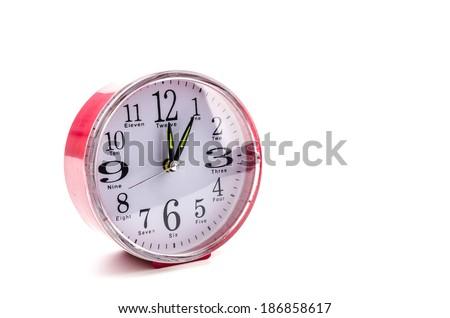Clock isolated white background - stock photo