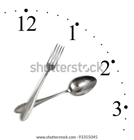 Clock made of spoon and fork isolated on white background - stock photo
