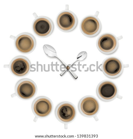 clock made with cups of coffee and teaspoon as lancets on white background - stock photo
