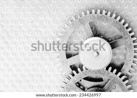 Clock mechanism, black and white photo - stock photo