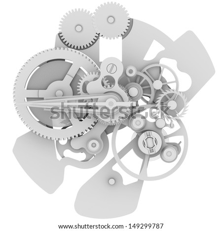 Clock mechanism. Isolated render on a white background - stock photo