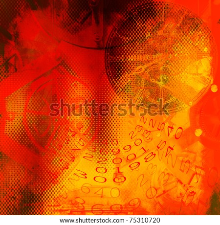 Clock,numbers before colored grunge background - stock photo