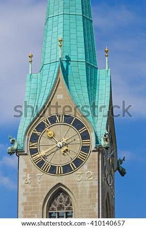 Clock on the St.Peter cathedral in Zurich, Switzerland, biggest mechanical clock of Europe. - stock photo