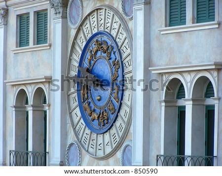 clock on the Venetian Hotel - stock photo