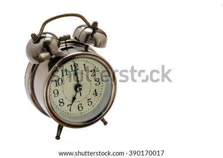 Clock on white with clipping path indicate time at seven O'clock - stock photo