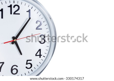Clock or time abstract background. white clock with red and black needles with copy space. - stock photo