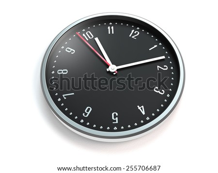 clock or watch with modern dial on white background - stock photo