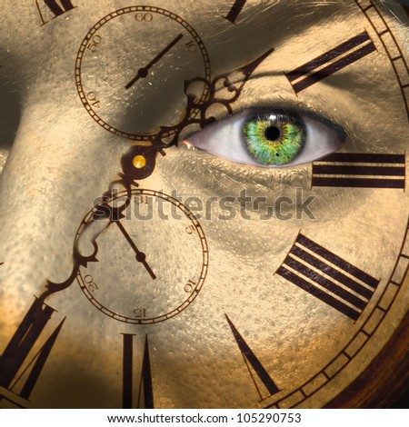Clock painted on male face to portray aging or bio clock concept - stock photo