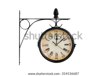 Clock showing 12:08 on white background - stock photo