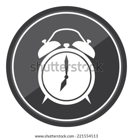 Clock Sign on Black Circle Icon, Button, Label Isolated on White  - stock photo