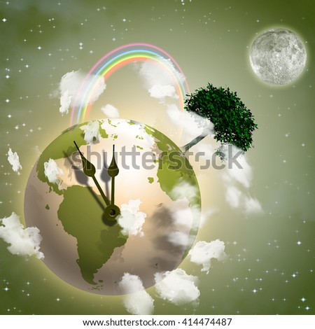 Clock Ticking Earth 3D Render Elements of this image furnished by NASA - stock photo
